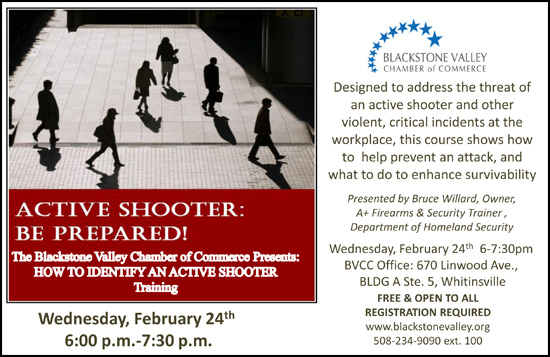 Blackstone Valley CC Presents Active Shooter Training - Click for Full Details