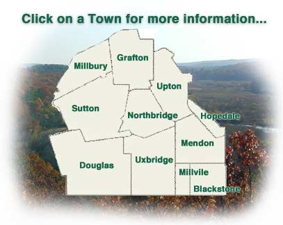 Blackstone Valley Map - Click on a Town for Demographic Information about that Town